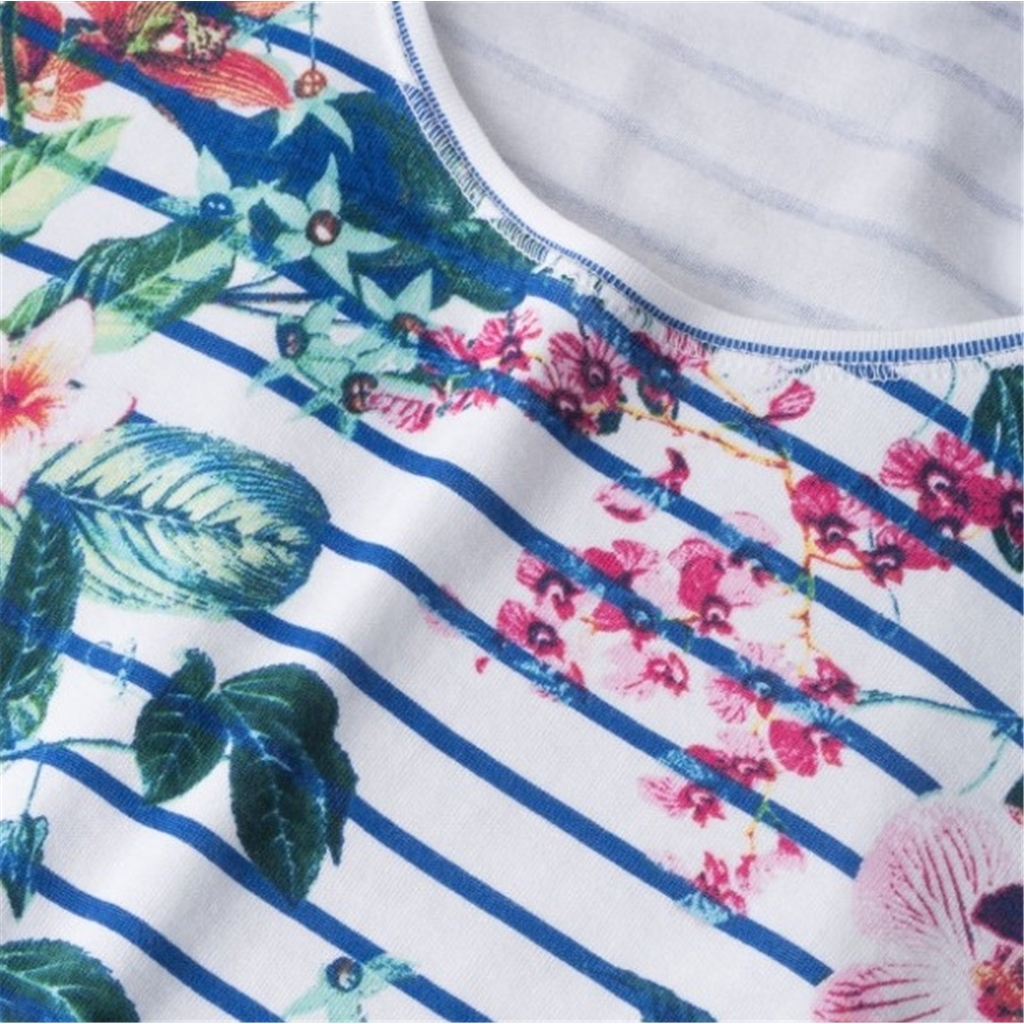 New 2018 Olsen Striped top with floral pattern