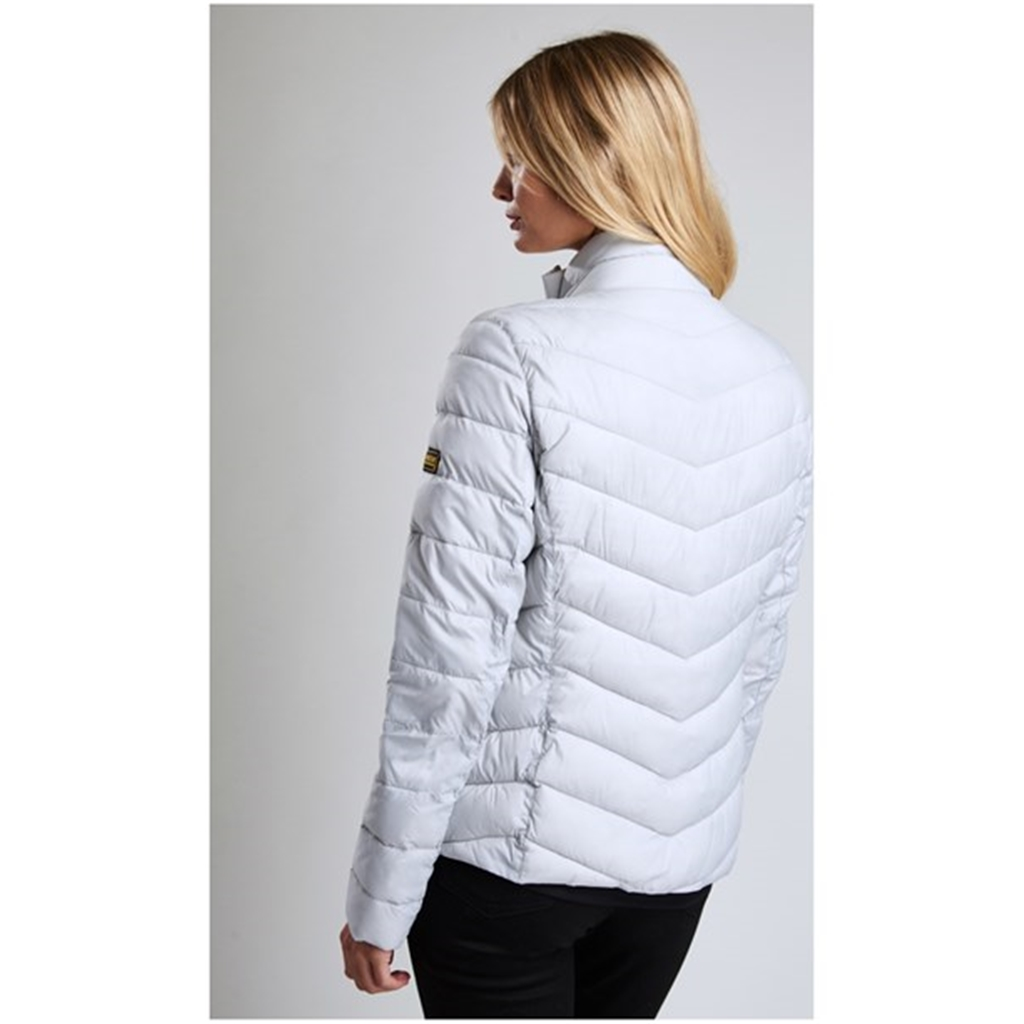 New 2018 Barbour International Aubern Baffle Quilted Jacket - Ice White