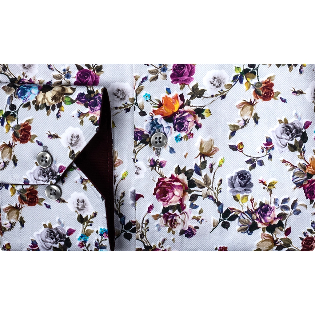 Giordano Modern Fit Cotton Shirt - Multi Flower Print on Grey -XLARGE ONLY