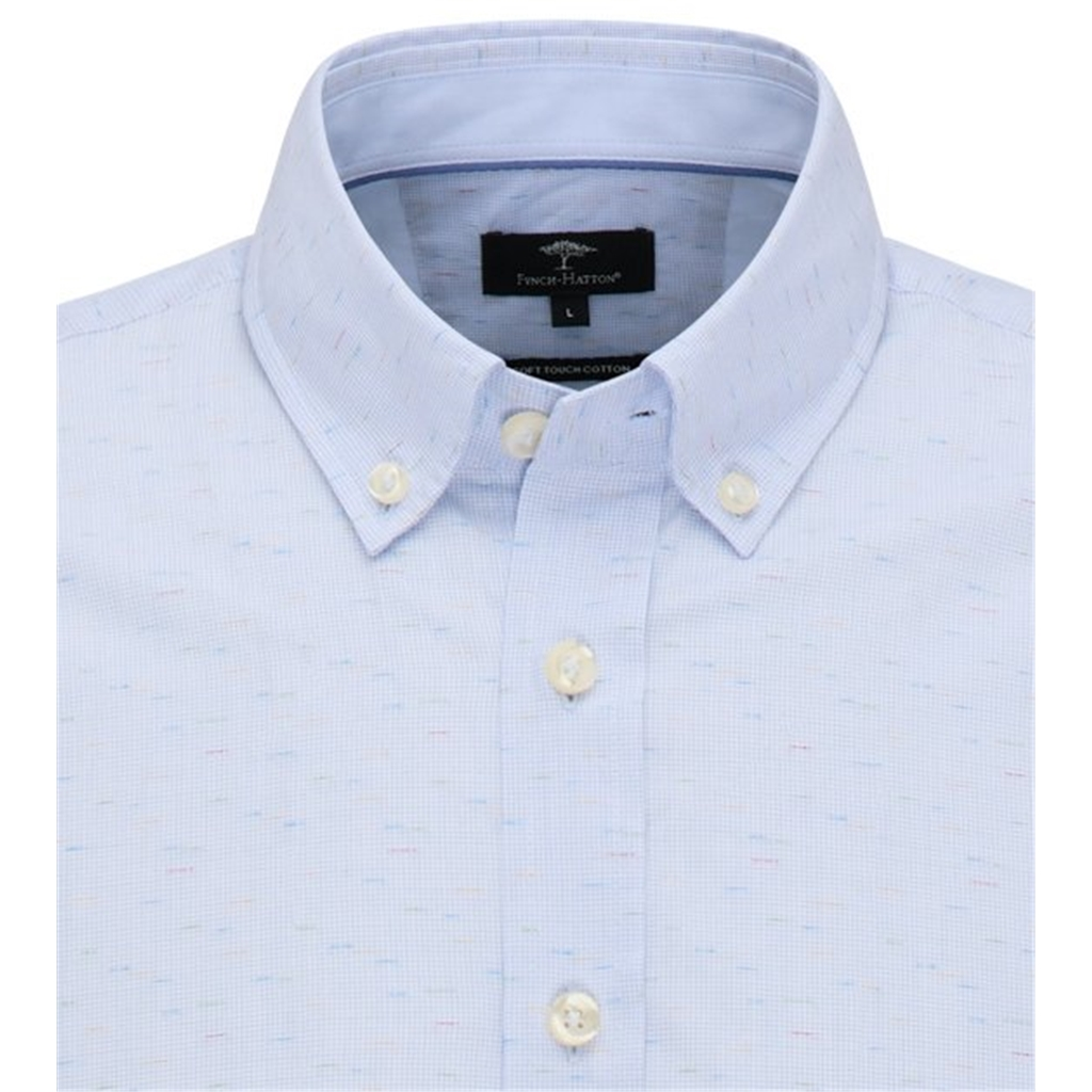 Fynch Hatton Shirt - Blue With Multicoloured Weave