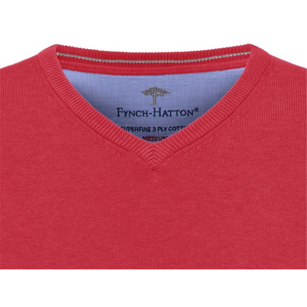 Fynch Hatton Vee Neck Superfine Cotton Sweater - Hibiscus - 1 ONLY SIZE LARGE