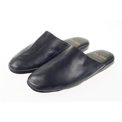 Mens Leather Travel Slippers With Case