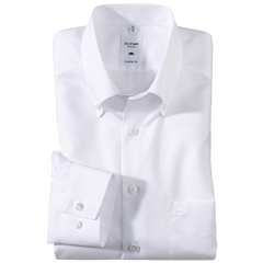 Olymp Regular Fit Shirt - White with Button Down Collar