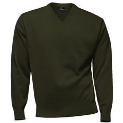Franco Ponti 100% Lambswool Vee Neck Sweater - Forest