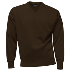 Franco Ponti 100% Lambswool Vee Neck Sweater - Brown