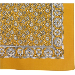 Bright Yellow Neat Paisley Design Bandana or Large Handkerchief
