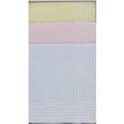 Box Of 3 Ladies Pastel Colours  Handkerchiefs With White Stripes
