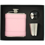 Hip Flask (FL20) - Pink 3oz Hip Flask with Cup and Funnel