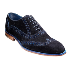 Barker Shoes Style: Grant -  Navy / Blue Suede