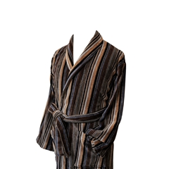 Men's Luxury Velour Dressing Gown - Ecru and Camel Stripes