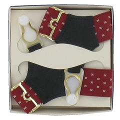 Gentleman's Sock Suspenders - Red with White Detail