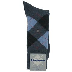 Burlington Socks - Preston Grey/Sky Blue Argyle Socks