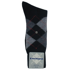 Burlington Socks - Preston Navy/Grey Argyle Socks