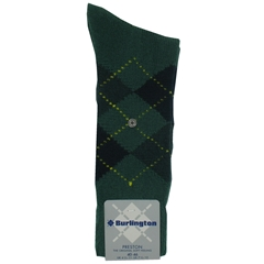 Burlington Socks - Preston Forest Green Argyle Socks