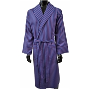 Men's Lightweight Dressing Gown - Navy, Red and White Stripes
