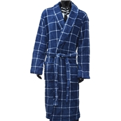 Fleece Dressing Gown - Blue with White Check