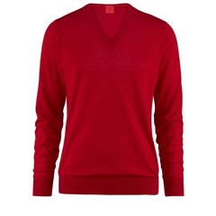 Olymp Knitwear - Olymp Level Five Merino Wool and Silk V-Neck Sweater Red