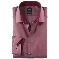 Olymp Modern Fit Contrast Collar Shirt - Burgundy