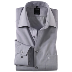 Olymp Modern Fit Shirt - Extra Long Sleeve - Silver Grey Fil-à-Fil Style