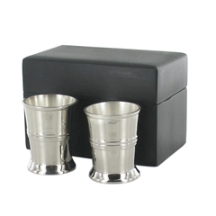 Two Excellent Quality Shot Cups - Delivered in Wooden Black Box - Men's Gift