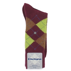 Burlington Socks - Preston Burgundy/Yellow Argyle Socks