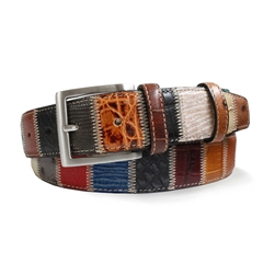 Patchwork Leather Belt by Robert Charles - 4cm width