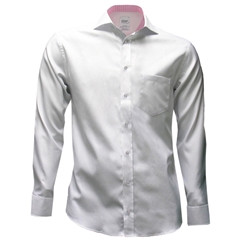 Oscar Shirt - White with Check Contrast Trim