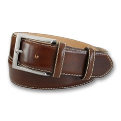 Mens Brown Leather Belt with Contrast Stitching by Robert Charles