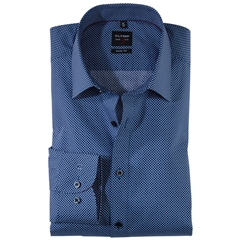 Olymp Level Five Body Fit Shirt  - Navy and White Diamond Design