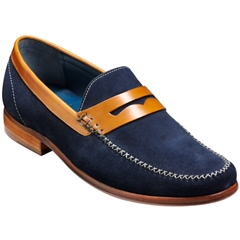 William - Navy Suede/Cedar Collar