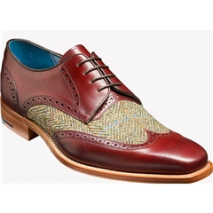 Barker Shoes Style: Jackson - Cherry Calf/Green Harris Tweed
