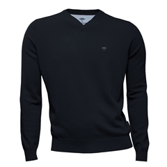 Fynch Hatton Wool & Cashmere V Neck - Navy