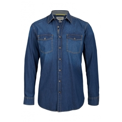 Camel active Denim shirt pat spread collar - Dark Blue - Large Only