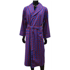 Lightweight Men's Dressing Gown - Red/Blue