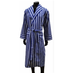 Lightweight Men's Dressing Gown - Blue/White