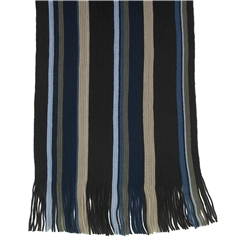 Men's Knitted Scarf - Brown/Navy Stripe Design Men's Scarf