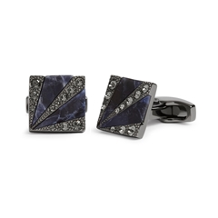 Swarovski Deco Sunburst Sodalite And Black Diamond Cufflinks