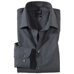 Olymp Level Five Body Fit Shirt - Charcoal Chambray - 2080 64 67