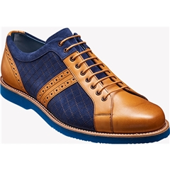 Barker Shoes Style: Detroit - Cedar Calf / Navy Suede / Blue Sole