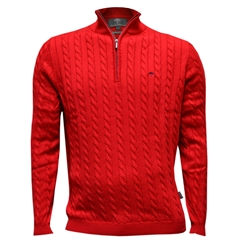 Fynch-Hatton Cotton Half Zip Cable Sweater - Scarlet
