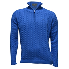 Fynch-Hatton Cotton Half Zip Cable Sweater - Azure - Size 3XL Only