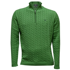 Fynch-Hatton Cotton Half Zip Cable Sweater - Bamboo - Size XXL & 3XL Only