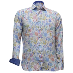 Giordano Shirt - Pure Linen - Gingham Flowers - Size 3XL Only