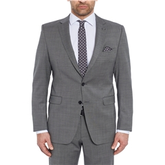 Digel Suit - Modern Fit 100% Italian Wool - Grey Neat Design