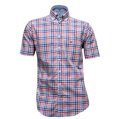 Fynch-Hatton Royal Cotton Short Sleeve Shirt - Berry-Blue - Size M Only