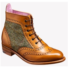 New 2018 Barker Ladies Shoes Style: Grace - Cedar Calf / Green Harris Tweed