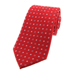 The Silk Tie Company - Red Small Squares - 100% Silk Tie