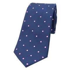 The Silk Tie Company - Navy and Pink Polka Dot - 100% Silk Tie
