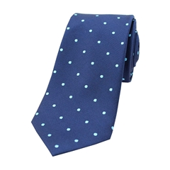 The Silk Tie Company - Navy and Cyan Polka Dot - 100% Silk Tie