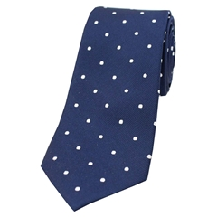The Silk Tie Company - Navy and White Polka Dot - 100% Silk Tie